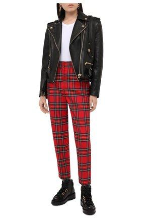 Женские шерстяные брюки BALMAIN красного цвета, арт. UF15172/W085 | Фото 2