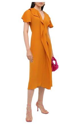 Женское шелковое платье VICTORIA BECKHAM оранжевого цвета, арт. 1320WDR001499B | Фото 2