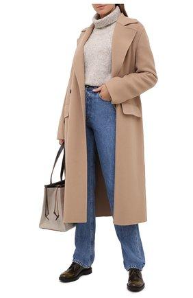 Женская кожаные дерби TOD'S темно-зеленого цвета, арт. XXW59C0DD20SHA   Фото 2