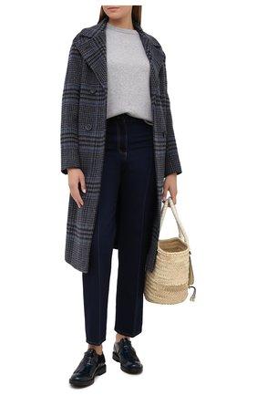 Женская кожаные монки TOD'S синего цвета, арт. XXW59C0DM20SHA   Фото 2