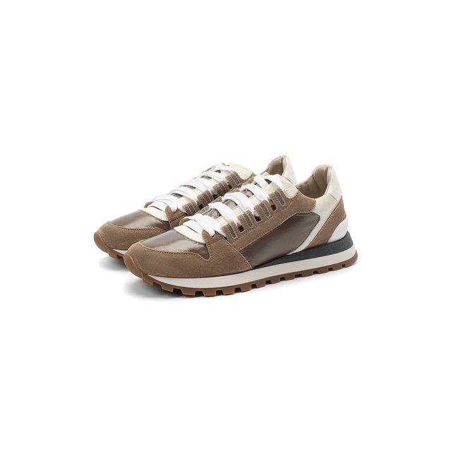 Комбинированные кроссовки Brunello Cucinelli