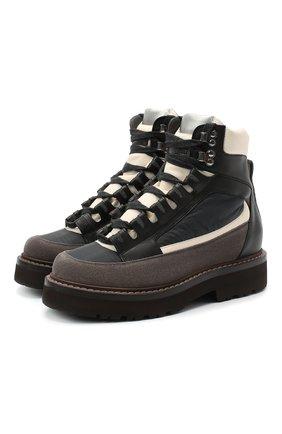 Женские комбинированные ботинки BRUNELLO CUCINELLI серого цвета, арт. MZSFG1967 | Фото 1