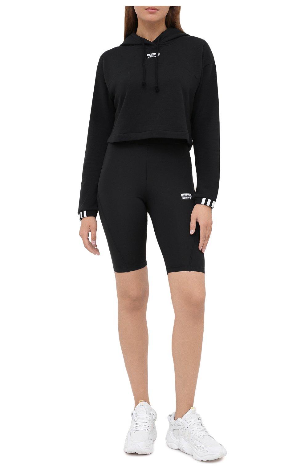 Женские шорты ADIDAS ORIGINALS черного цвета, арт. GD3882 | Фото 2 (Длина Ж (юбки, платья, шорты): Мини; Кросс-КТ: Спорт)