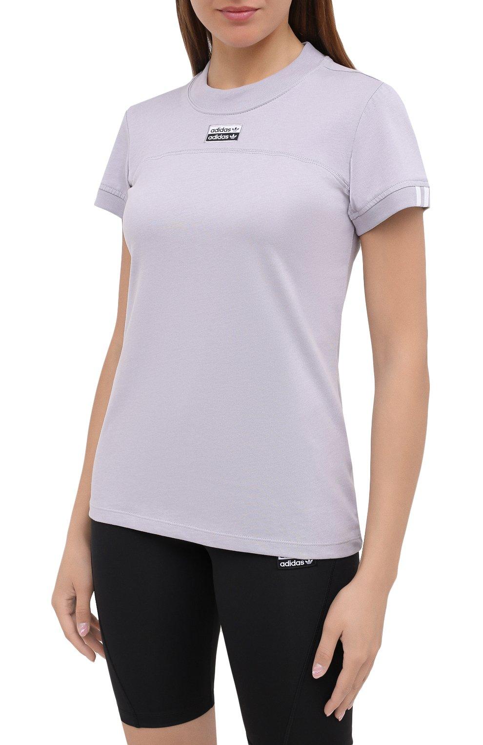 Женская хлопковая футболка ADIDAS ORIGINALS сиреневого цвета, арт. GD3805   Фото 3 (Женское Кросс-КТ: Футболка-спорт, Футболка-одежда; Рукава: Короткие; Кросс-КТ: Спорт; Длина (для топов): Стандартные; Принт: С принтом; Материал внешний: Хлопок; Стили: Спорт)
