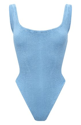 Женский слитный купальник HUNZA G голубого цвета, арт. SQ NECK SWIM   Фото 1 (Длина Ж (юбки, платья, шорты): Мини; Материал внешний: Синтетический материал; Женское Кросс-КТ: Слитные купальники)