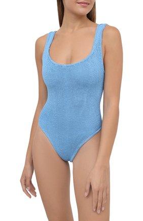 Женский слитный купальник HUNZA G голубого цвета, арт. SQ NECK SWIM   Фото 2 (Длина Ж (юбки, платья, шорты): Мини; Материал внешний: Синтетический материал; Женское Кросс-КТ: Слитные купальники)