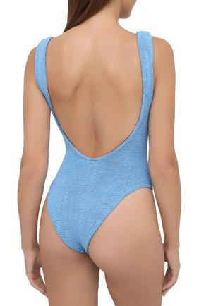 Женский слитный купальник HUNZA G голубого цвета, арт. SQ NECK SWIM   Фото 3 (Длина Ж (юбки, платья, шорты): Мини; Материал внешний: Синтетический материал; Женское Кросс-КТ: Слитные купальники)