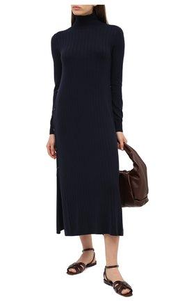 Женское кашемировое платье LORO PIANA темно-синего цвета, арт. FAL2569 | Фото 2