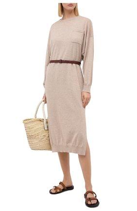 Женское кашемировое платье BRUNELLO CUCINELLI бежевого цвета, арт. M2E811A90P | Фото 2