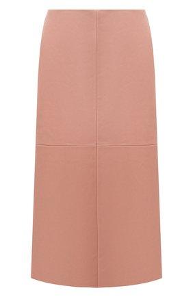 Женская кожаная юбка DROME розового цвета, арт. DPD1961P/D1098P   Фото 1 (Длина Ж (юбки, платья, шорты): Миди; Материал внешний: Кожа; Материал подклада: Вискоза; Женское Кросс-КТ: Юбка-одежда)