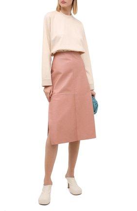 Женская кожаная юбка DROME розового цвета, арт. DPD1961P/D1098P   Фото 2 (Длина Ж (юбки, платья, шорты): Миди; Материал внешний: Кожа; Материал подклада: Вискоза; Женское Кросс-КТ: Юбка-одежда)