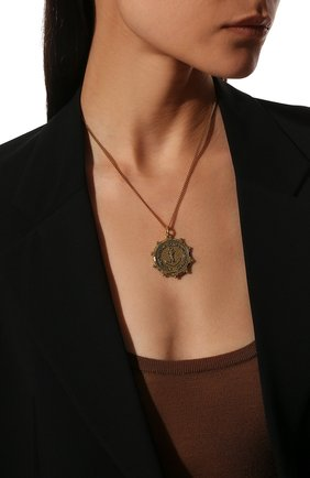 Женская кулон на цепочке SAINT LAURENT золотого цвета, арт. 636004/Y1500   Фото 2 (Материал: Металл)