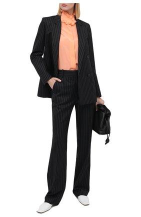 Женские шерстяные брюки VICTORIA BECKHAM темно-синего цвета, арт. 1320WTR001467C | Фото 2