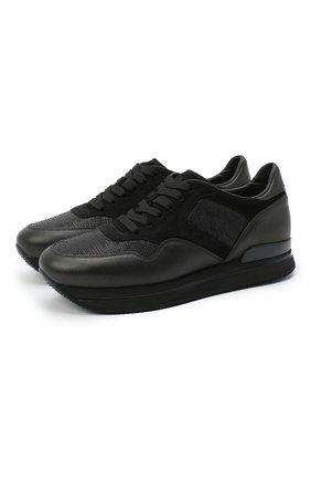 Женские комбинированные кроссовки 222 sole HOGAN черного цвета, арт. HXW2220N622074 | Фото 1