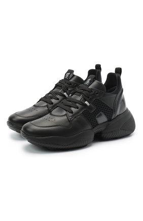 Женские комбинированные кроссовки interaction HOGAN черного цвета, арт. HXW5250CW700KW   Фото 1