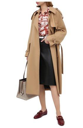 Женские кожаные лоферы TOD'S бордового цвета, арт. XXW79A0DE800M0 | Фото 2