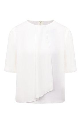 Женская шелковая блузка GIORGIO ARMANI белого цвета, арт. 0WHCC011/T01WE | Фото 1 (Рукава: Короткие; Длина (для топов): Стандартные; Материал внешний: Шелк; Женское Кросс-КТ: Блуза-одежда; Принт: Без принта)