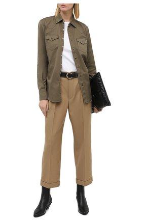 Женские шерстяные брюки SAINT LAURENT бежевого цвета, арт. 627259/Y404W | Фото 2