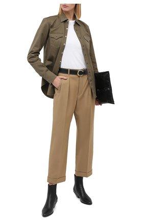 Женская хлопковая рубашка SAINT LAURENT хаки цвета, арт. 629965/Y596V | Фото 2