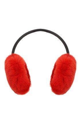 Женские наушники из меха кролика YVES SALOMON красного цвета, арт. 8WAA819XXREXX | Фото 1