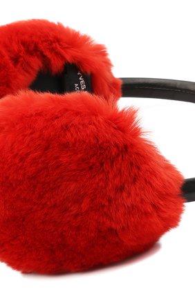 Женские наушники из меха кролика YVES SALOMON красного цвета, арт. 8WAA819XXREXX | Фото 2