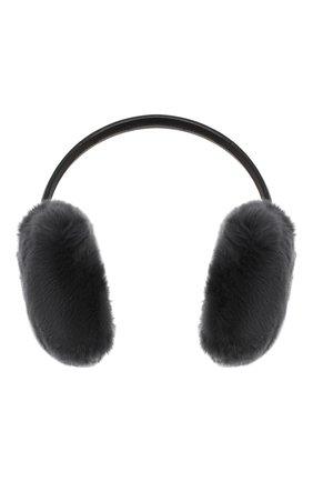 Женские наушники из меха кролика YVES SALOMON темно-серого цвета, арт. 8WAA819XXREXX | Фото 1