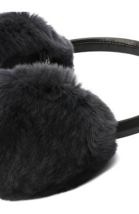 Женские наушники из меха кролика YVES SALOMON темно-серого цвета, арт. 8WAA819XXREXX | Фото 2
