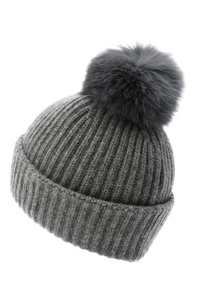 Женская кашемировая шапка YVES SALOMON светло-серого цвета, арт. 21WAA520XXCARD   Фото 2