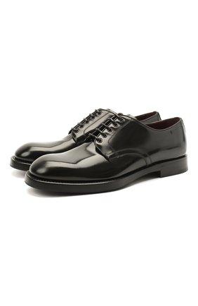 Мужской кожаные дерби DOLCE & GABBANA черного цвета, арт. A10610/A1203 | Фото 1