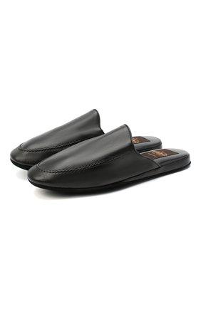Мужского домашние кожаные туфли ALDO BRUE черного цвета, арт. PCU038-NT   Фото 1