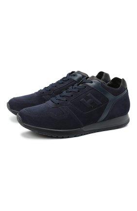 Мужские замшевые кроссовки HOGAN темно-синего цвета, арт. HXM3210Y8530ED | Фото 1