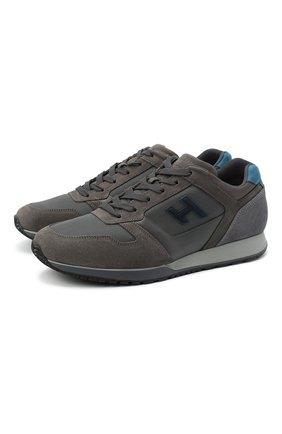 Мужские комбинированные кроссовки HOGAN серого цвета, арт. HXM3210Y8600HT | Фото 1