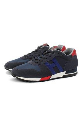 Мужские комбинированные кроссовки HOGAN темно-синего цвета, арт. HXM3830AN510C7 | Фото 1