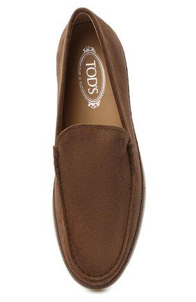 Мужские замшевые слипоны TOD'S коричневого цвета, арт. XXM0TV0AJ30RE0 | Фото 5 (Материал внутренний: Натуральная кожа; Материал внешний: Замша; Стили: Кэжуэл)