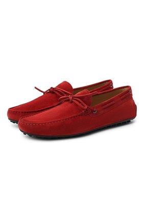 Мужские замшевые мокасины TOD'S красного цвета, арт. XXM42C00050RE0 | Фото 1