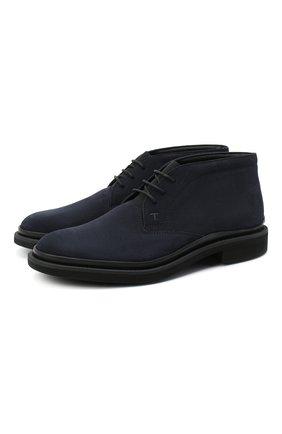 Мужские замшевые ботинки TOD'S темно-синего цвета, арт. XXM89B0DM50HSE | Фото 1