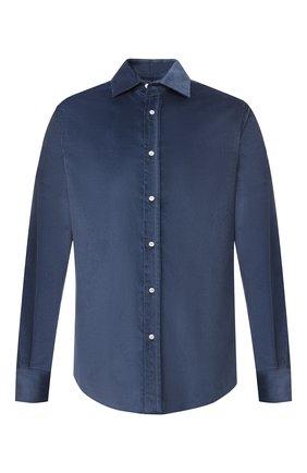 Мужская рубашка из хлопка и кашемира RALPH LAUREN синего цвета, арт. 790806139 | Фото 1