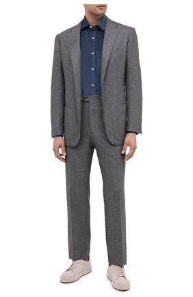 Мужская рубашка из хлопка и кашемира RALPH LAUREN синего цвета, арт. 790806139 | Фото 2
