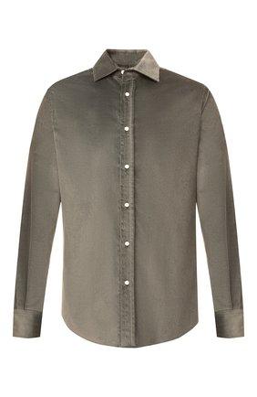 Мужская рубашка из хлопка и кашемира RALPH LAUREN хаки цвета, арт. 790806139 | Фото 1 (Длина (для топов): Стандартные; Материал внешний: Хлопок; Рукава: Длинные; Случай: Повседневный; Стили: Кэжуэл)