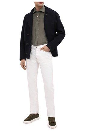 Мужская рубашка из хлопка и кашемира RALPH LAUREN хаки цвета, арт. 790806139 | Фото 2 (Длина (для топов): Стандартные; Материал внешний: Хлопок; Рукава: Длинные; Случай: Повседневный; Стили: Кэжуэл)