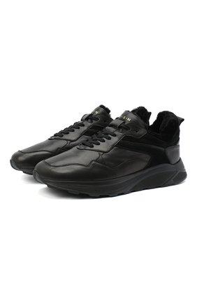 Мужские кожаные кроссовки H`D`S`N BARACCO черного цвета, арт. 0RI0NE.M.0 | Фото 1