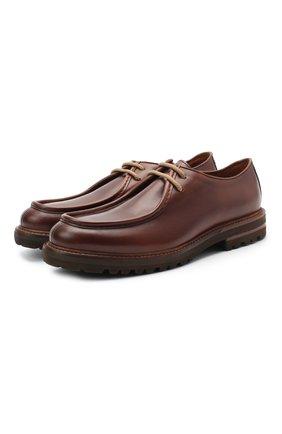 Мужской кожаные дерби BRUNELLO CUCINELLI коричневого цвета, арт. MZUCHRG888 | Фото 1
