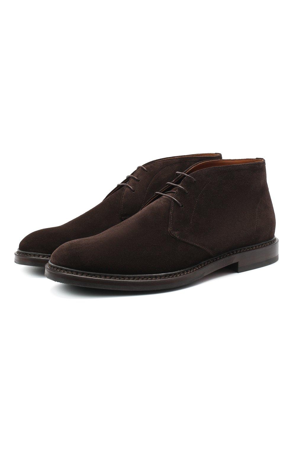 Мужские замшевые ботинки BRUNELLO CUCINELLI темно-коричневого цвета, арт. MZUJCAU892 | Фото 1