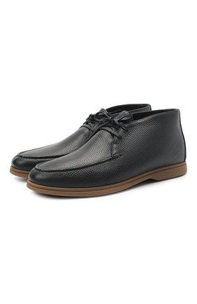 Мужские кожаные ботинки BRUNELLO CUCINELLI темно-синего цвета, арт. MZUT0MB857 | Фото 1