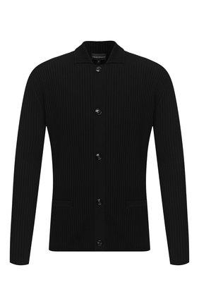 Мужская шерстяной кардиган EMPORIO ARMANI черного цвета, арт. 6H1GX1/1MHWZ   Фото 1