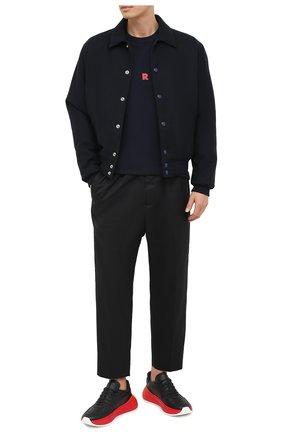Мужская хлопковая футболка MARNI темно-синего цвета, арт. HUMU0170P0/S22763   Фото 2