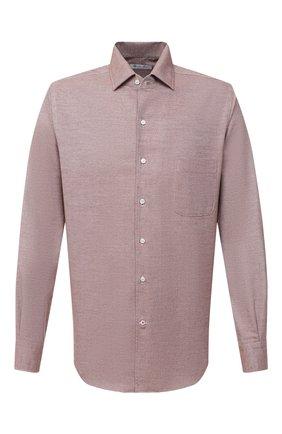 Мужская хлопковая рубашка LORO PIANA светло-коричневого цвета, арт. FAL4358 | Фото 1