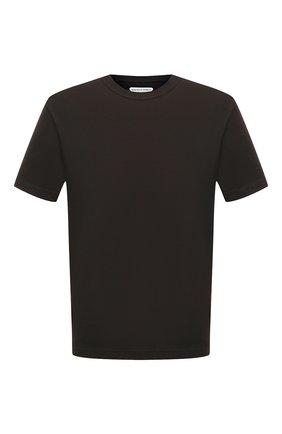 Мужская хлопковая футболка BOTTEGA VENETA темно-зеленого цвета, арт. 639525/VF1U0 | Фото 1 (Длина (для топов): Стандартные; Рукава: Короткие; Материал внешний: Хлопок; Принт: Без принта; Мужское Кросс-КТ: Футболка-одежда; Стили: Кэжуэл)