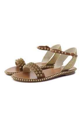 Женские кожаные сандалии cordorella CHRISTIAN LOUBOUTIN коричневого цвета, арт. cordorella flat calf | Фото 1