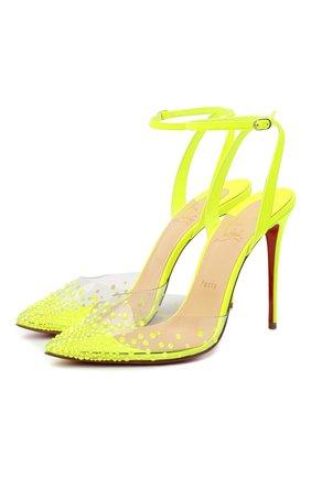 Женская комбинированные туфли spikaqueen 100 CHRISTIAN LOUBOUTIN желтого цвета, арт. spikaqueen 100 pvc/fluo mat   Фото 1